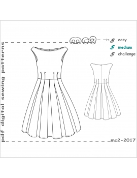 Off-Shoulder Retro-style Dress with Pleated Skirt