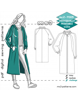 Bomber-style Coat with Raglan Sleeves & NO-lining