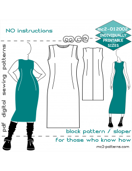 BASIC Block-Pattern/ Sloper for Sheath Dress