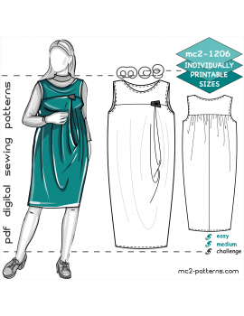 Maternity Dress with Fancy Draped-Front & Yokes