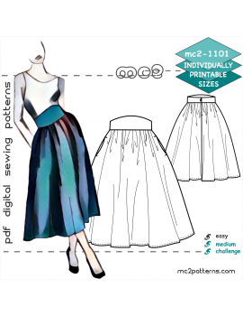 Flared Peasant Skirt with Shaped Waistband & Side Pockets
