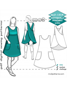 Japanese-style A-line Cross-back Apron with Side Seams & Pockets