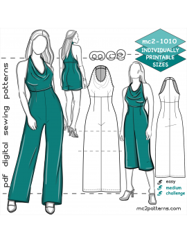 mc2-1010 Jumpsuit with Open Shoulders & High-waisted Palazzo