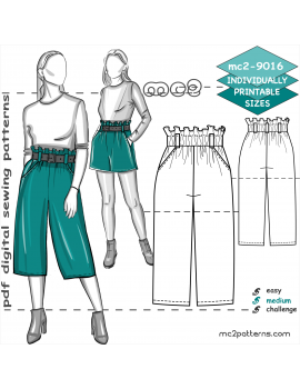 Paper-bag Culottes/Shorts with Pockets