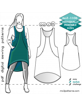 Racer-back Pinafore/Jumper Dress with Dropped Hem & Inseam Pockets