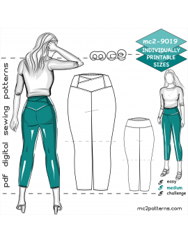 Cropped Leggings or Shorts with Yoke & Back Pockets