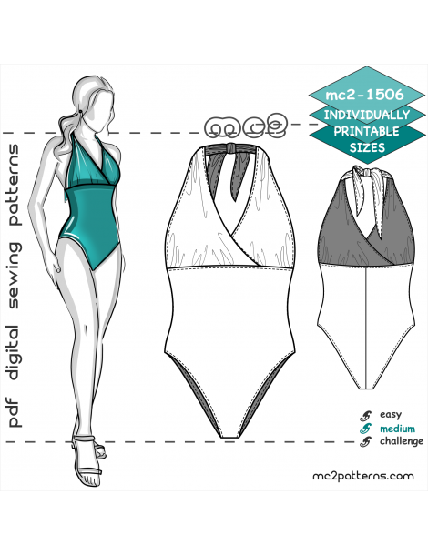 mc2-1506 1-piece High-wst Lined Swimsuit