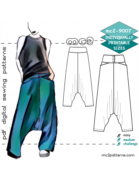 mc2-9007 Pants.Harem.Buttoned-Yoke.Pkts