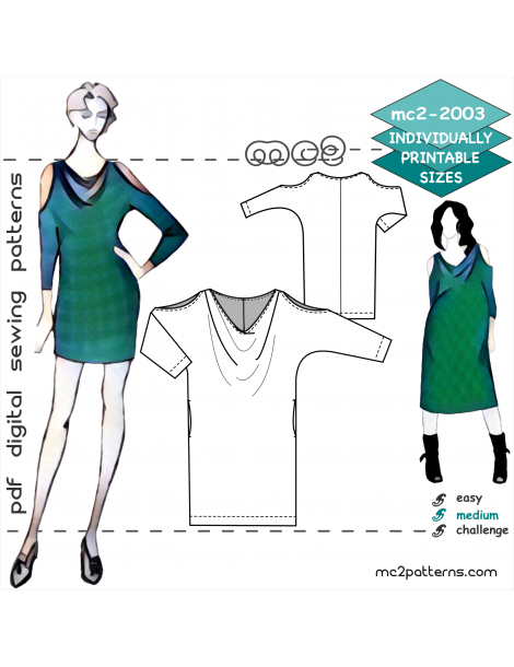 mc2-2003 Jersey Cowl-neck Dolman Dress