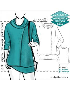 Double-layer Wrap Tunic with Cowl-neck