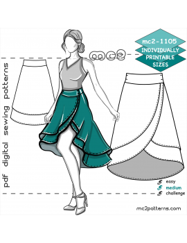 Double-Layer Wrap Skirt with Shaped Waistband & Dropped Hem