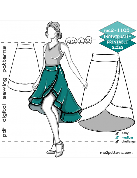mc2-1105 Flared Double-Layer Wrap Skirt with Shaped Waistband & Dropped Hem