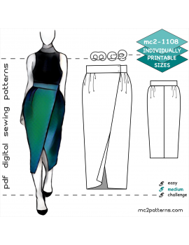 Tulip Skirt with Front Wrap & NO side-seams
