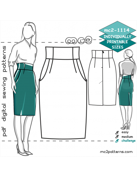 mc2-1114 Skirt.Pencil.High-wstd