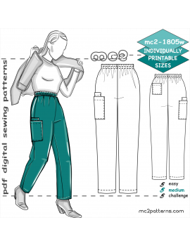 Pull-on Pants/ Scrubs with Cargo Pockets for women