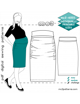 mc2-6001 Maternity High-Waisted Bodycon Skirt with Draped Front