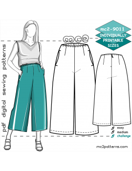 Culottes with Pockets, Back-Zip & No-Waistband