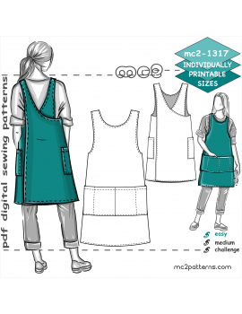 Japanese-style Cross-back Straight-shape/Boxy Pinafore Apron with NO-side-seams