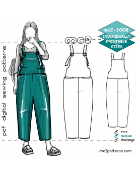 mc2-1008 Jumpsuit.Crpd.Overall /Knotted Straps & Pkts