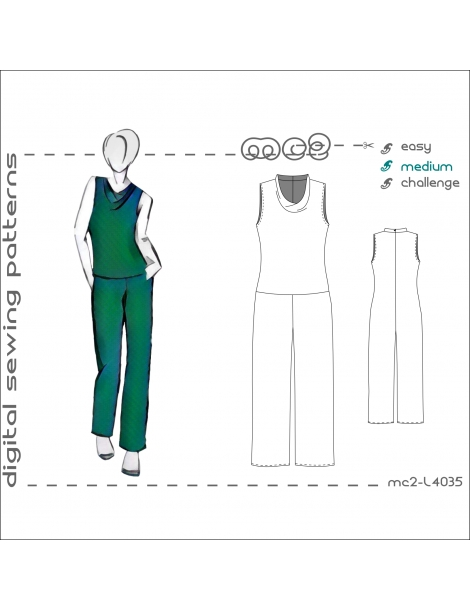 mc2-L4035 Jumpsuit with Cowlneck Top