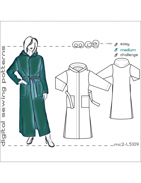 mc2-L5109 Maxi Coat with Hood & Lining