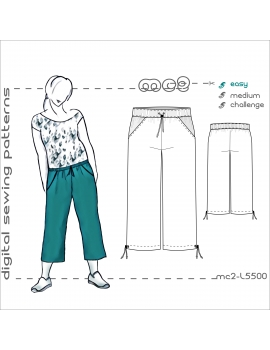 Culottes/ Cropped Pants with Side Pockets