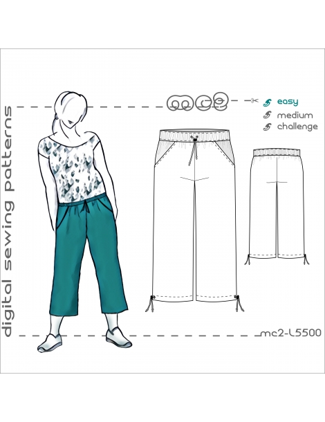 mc2-L5500 Culottes/ Cropped Pants with Side Pockets