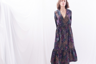 Loose-fit Maxi Dress with Wrapped Front, Bottom Tier & Long Sleeves